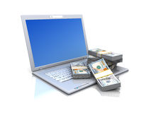 Computer with money Royalty Free Stock Image