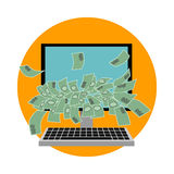 Computer with money. Flat design. Vector. Illustration Stock Image