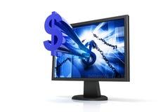Computer moniter with dollar Royalty Free Stock Photos