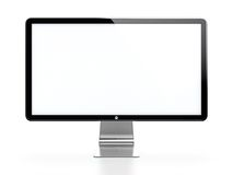 Computer monitor. With white blank screen isolated on white background