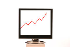 Computer Monitor. With graph showing an increase Stock Photos