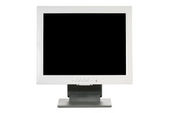 Computer monitor. With black screen on white stock photography