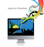 Computer monitor. Colorful swirls jumping inside a computer monitor Royalty Free Stock Photo