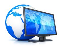 Computer monitor and abstract earth. Symbol. 3d illustration Stock Photos