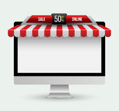 Computer monitor with awning. Royalty Free Stock Photography