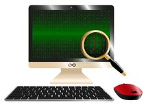 Computer monitor with binary code and magnifying loupe - vector illustration vector illustration
