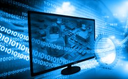 Computer monitor with binary streams Royalty Free Stock Image
