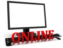 Computer monitor with blank white screen and red word online. Stock Photo