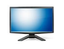 Computer monitor with blue flat wide screen. Isolated on white Stock Images