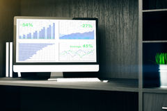 Computer monitor with business chart. On cupboard shelf. 3D Rendering Royalty Free Stock Photography