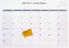 Computer monitor calendar for tax filing day 2017 Royalty Free Stock Photography