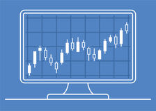 Computer monitor with candle chart of forex or stock data graphic in thin line style. Set of various indicators for stock forex trade. Online trading concept Stock Photo