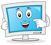 Computer Monitor Cartoon Character. A funny cartoon computer monitor character smiling with thumbs up, isolated on white background. Eps file available Royalty Free Stock Photos