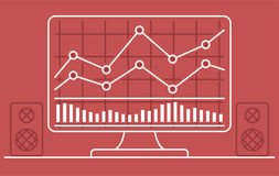 Computer monitor with chart of forex or stock data graphic in thin line style. Royalty Free Stock Photo