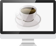 Computer monitor and coffee Stock Photo