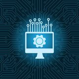 Computer Monitor With Cogwheel Icon Over Blue Circuit Motherboard Background. Vector Illustration Royalty Free Stock Photography