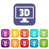 Computer monitor with 3d inscription icons set Royalty Free Stock Photo