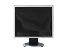 Computer monitor. With damage screen with clipping path isolated on white background Royalty Free Stock Images
