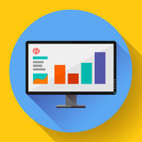 Computer monitor display wide screen icon. Presentation. Flat design style. Royalty Free Stock Image