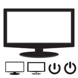 Computer monitor display widescreen rounded corner. With icon and power symbol isolated on white background Stock Photos