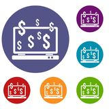 Computer monitor and dollar signs icons set Royalty Free Stock Photography