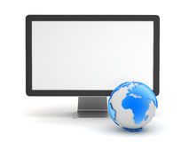 Computer monitor and earth globe. On white background Royalty Free Stock Photo