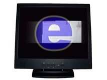 Computer monitor - email. Concept photo of flat screen computer monitor isolated over white by clipping path depicting email royalty free stock photography