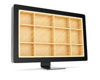 Computer monitor with empty shelves. On white background. 3d rendering image Royalty Free Stock Photos