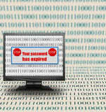 Computer monitor with expired password message Stock Image