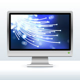Computer monitor with fiber optic internet Royalty Free Stock Photo