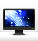 Computer monitor with fiber optic internet background Stock Images