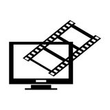 Computer monitor and film roll , Vector illustration over white background. Black and white computer monitor with film crossing it  illustration isolated over Royalty Free Stock Images