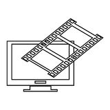 Computer monitor and film roll , Vector illustration over white background. Simple black line computer monitor with film roll on top corner  illustration Stock Photography