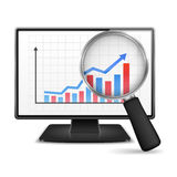 Computer Monitor with Graph. Magnifying glass showing rising bar graph with arrow on the screen of computer monitor Royalty Free Stock Image