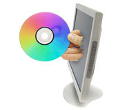 Computer monitor with hand Royalty Free Stock Images