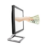 Computer monitor and hand with money isolated Stock Image