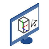 Computer monitor icon in isometric 3d style Stock Photos