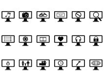 Computer monitor with icons set Royalty Free Stock Photography
