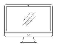 Computer, monitor isolato su fondo bianco Illustrazione di vettore Immagini Stock Libere da Diritti