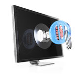 Computer monitor with key Royalty Free Stock Photos