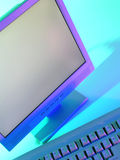 Computer monitor and keyboard Royalty Free Stock Photos