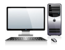 Computer with Monitor Keyboard and Mouse Stock Image
