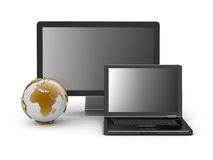 Computer monitor, laptop and earth globe. On white background Royalty Free Stock Photography