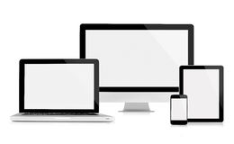 Computer monitor, laptop, tablet and mobile phone. On white background stock photos