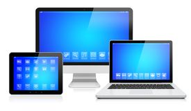 Electronic devices on a white stock illustration