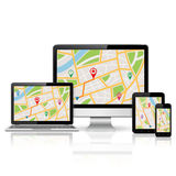 Computer monitor, laptop, tablet pc and mobile phone with GPS map Stock Photography