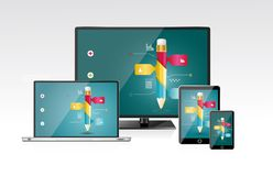 Computer monitor, laptop, tablet pc, and mobile sm. Artphone with a blue background and colorful apps or infographics on a screen Royalty Free Stock Photography