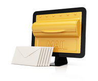 Computer monitor with mailbox on screen and envelopes Royalty Free Stock Images