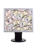 Computer monitor with money Royalty Free Stock Images