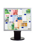 Computer monitor with money Royalty Free Stock Photo
